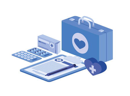 first aid kit on white background vector illustration design  イラスト・ベクター素材