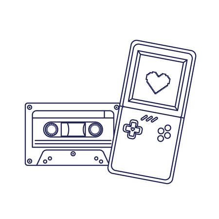 video game console handle and cassette ninetys vector illustration design