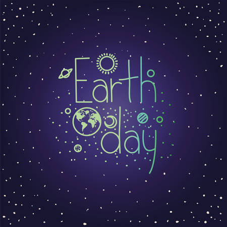 group of planets earth day celebration vector illustration design 矢量图像