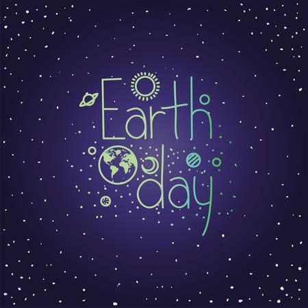 group of planets earth day celebration vector illustration design Illustration