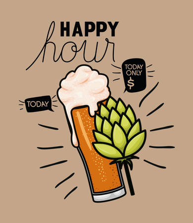 happy hour beers label with glass and leafs vector illustration design  イラスト・ベクター素材