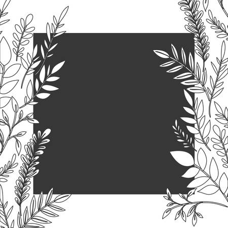 frame with flowers and leafs icon vector illustration design