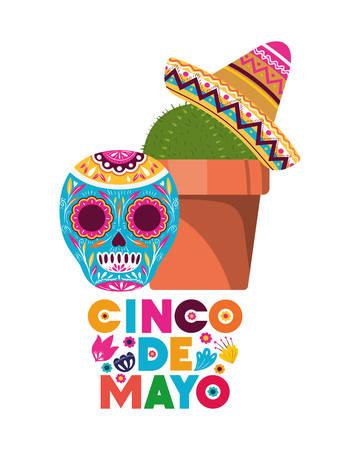 cinco de mayo label with cactus and skull vector illustration design 版權商用圖片 - 126483352