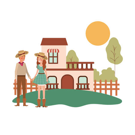 farmers couple talking with background houses vector illustration design