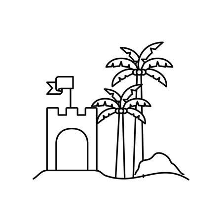 Silhouette de château de sable sur fond blanc vector illustration design