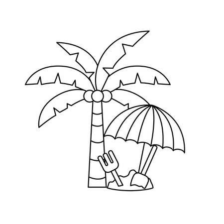 silhouette of palm tree with coconut and sand bucket vector illustration design