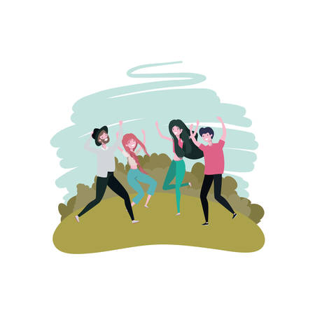 group of people dancing in landscape with trees and plants vector illustration design Vettoriali