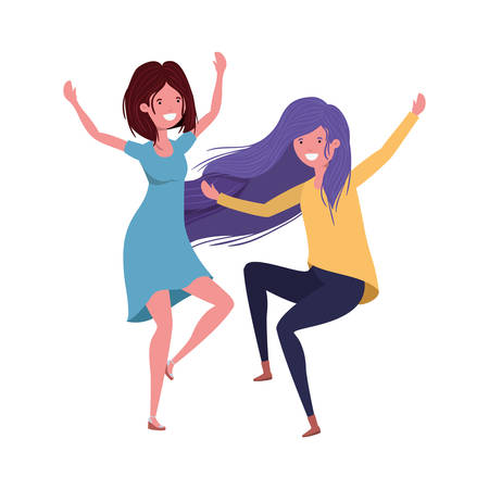 dancing women in white background vector illustration design Vector Illustration