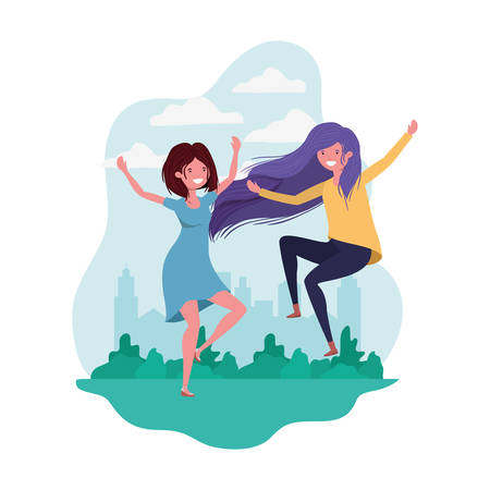 dancing women in landscape of background vector illustration design Vettoriali