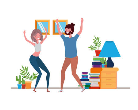 young couple dancing in living room character vector illustration design