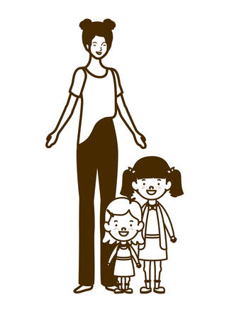 silhouette of woman with children of back to school vector illustration design Иллюстрация