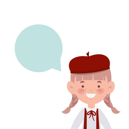 student girl smiling with speech bubble vector illustration design Illustration
