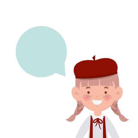 student girl smiling with speech bubble vector illustration design Иллюстрация