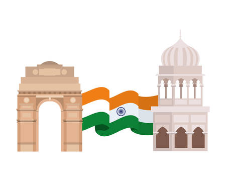 celebration of Indian independence day with flag vector illustration design Ilustração