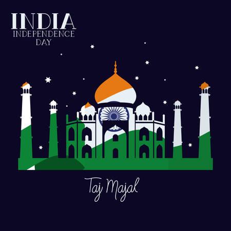 indian taj majal temple with flag colors background vector illustration design