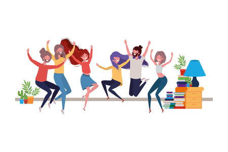 group of people dancing in living room vector illustration design