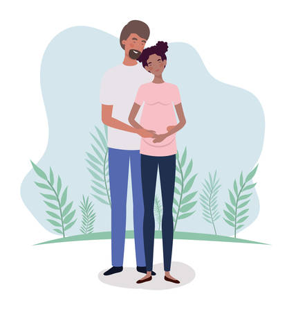 interracial lovers couple pregnancy characters in the landscape vector illustration