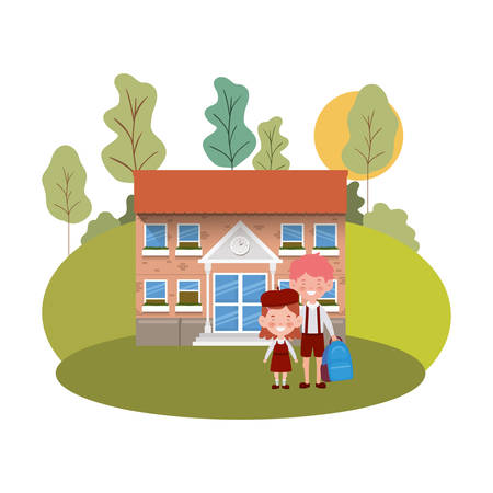 school building of primary with students vector illustration design