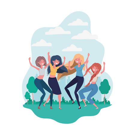 dancing women in landscape of background vector illustration design