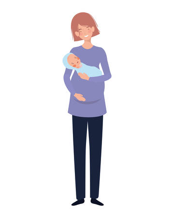 woman standing with a newborn baby in her arms vector illustration design