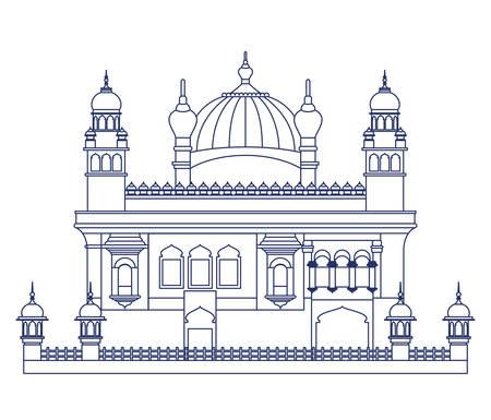 Erbauung des goldenen Tempels von Amritsar und des indischen Unabhängigkeitstagvektorillustrationsdesigns