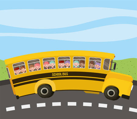 school bus with kids in the road vector illustration design