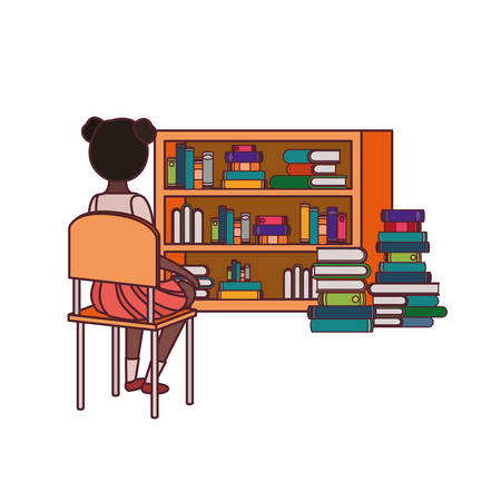 student girl sitting his back on chair vector illustration design Vectores