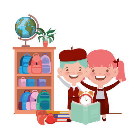 couple of students with school supplies in the classroom vector illustration design Vetores