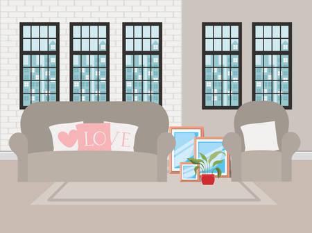 beautiful living room house scene vector illustration design Vettoriali