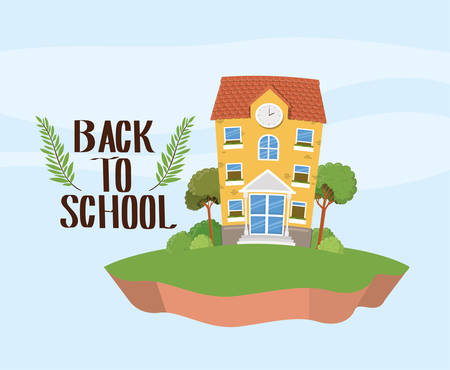 school building in the grass scene vector illustration design