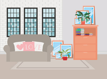 beautiful living room house scene vector illustration design Illustration