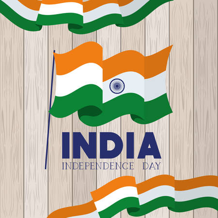 independence day india flag with wooden background vector illustration design