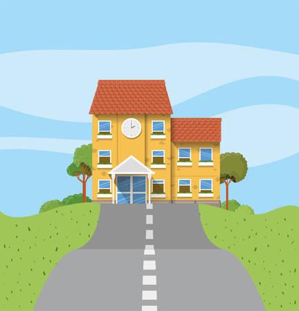 school building in the road scene vector illustration design