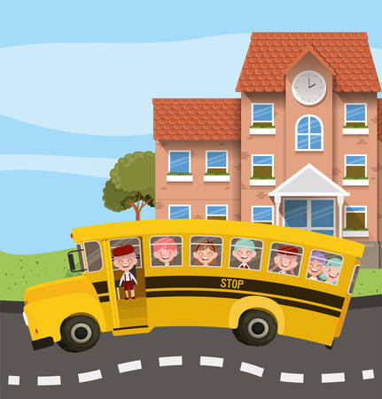 school building and bus in the road scene vector illustration design