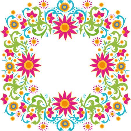 frame of colorful flower of the india vector illustration design Illustration