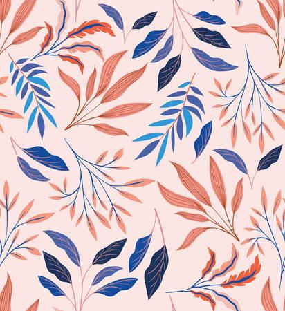 colors leafs natural pattern background vector illustration design