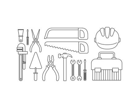 construction tools set items vector illustration design Illustration