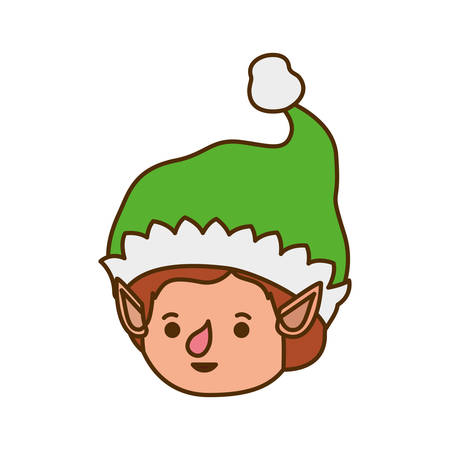 elves head with hat avatar character vector illustration design Illustration