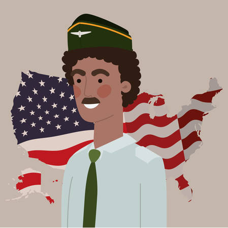 military afro man with usa map and flag vector illustration design