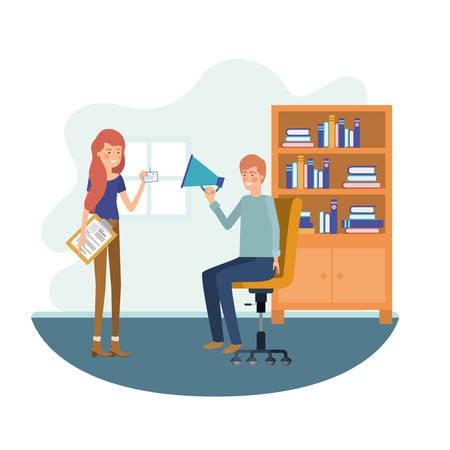 couple in the work office avatar character vector illustration design Illustration