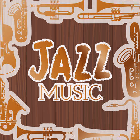 jazz day poste with instruments and wooden backgroundvector illustration design Ilustração