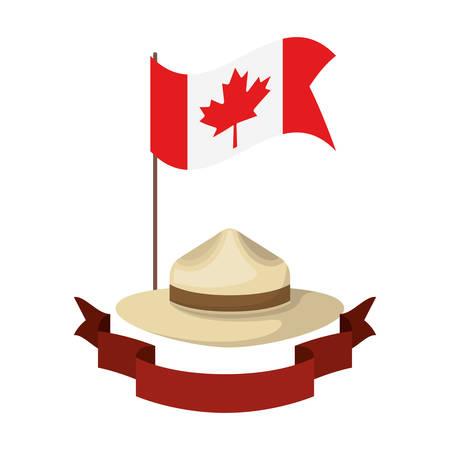 Chapeau de feuille d'érable et conception du canada, thème national de la culture et du tourisme dans les pays illustration vectorielle