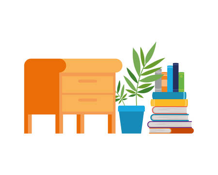 wooden drawer with stack of books in white background vector illustration design