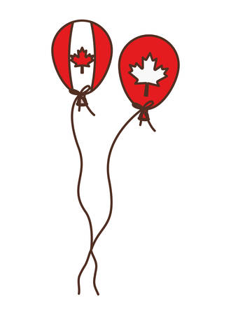 Maple leaf balloon and canada design, Culture national country travel and tourism theme Vector illustration Çizim