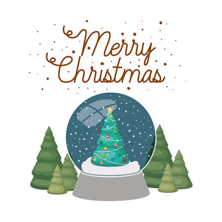 christmas pine in crystal ball isolated icon vector illustration design