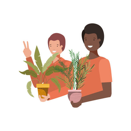 men with houseplant avatar character vector illustration design