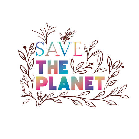 save the planet label icon vector illustration design