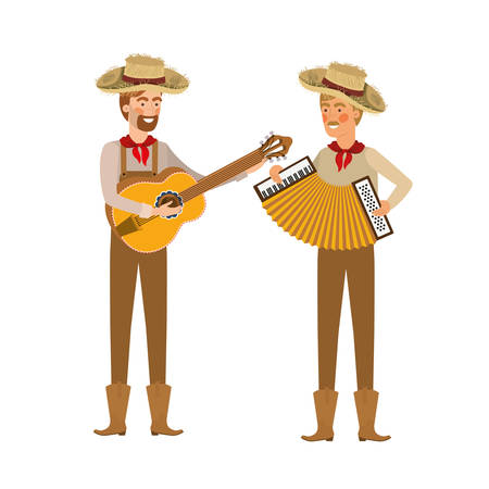 farmers men with musical instruments vector illustration design