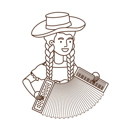 farmer woman with musical instrument vector illustration design