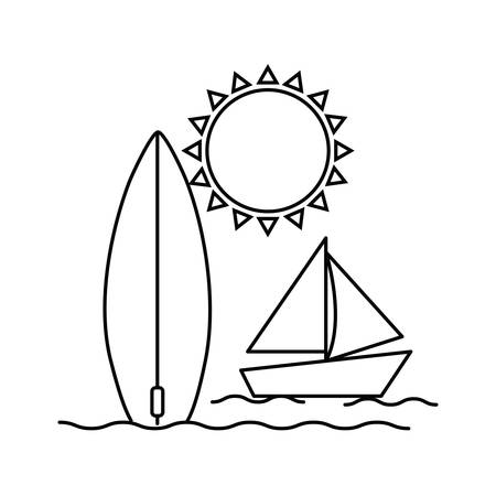 silhouette of surfboard and boat on white background vector illustration design